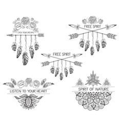 set of hand drawn boho style design with mandala vector image vector image