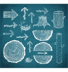 Skethces of wood cuts logs stump and arrows vector image