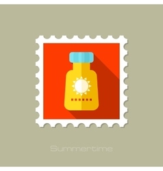 Sunscreen flat stamp with long shadow vector