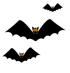 Three large black bat fangs eyes vector