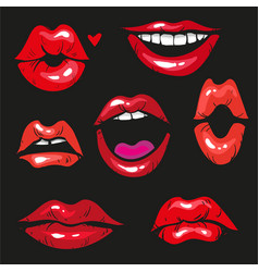 Woman lip gestures set girl mouths close up with vector