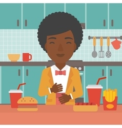 Woman suffering from heartburn vector