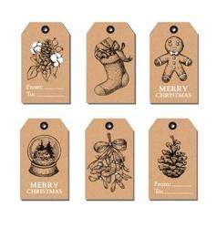 Christmas vintage gift tags set hand drawn vector