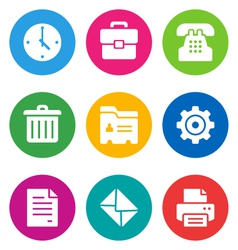 Color office icons vector