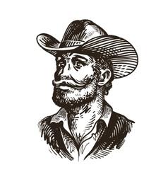 Cowboy rancher or farmer Hand drawn sketch vector image