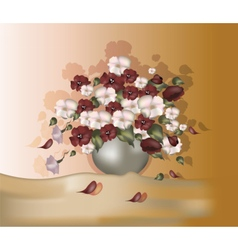 Bouquet of flowers in oil paints color vector