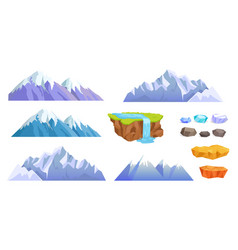 Mountains with snow tops cliff stones waterfall vector