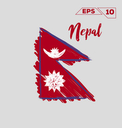 Nepal flag brush strokes painted vector