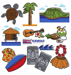 Hawaii travel destination landmarks and famous vector