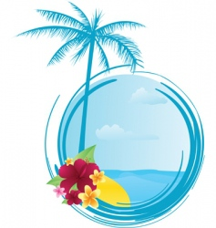 Round summer banner with flowers vector