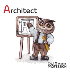 Alphabet professions owl architect character on a vector