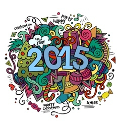 2015 year hand lettering and doodles elements vector