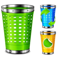 Plastic trash basket vector