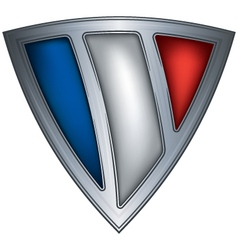 Steel shield with flag france vector