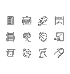 Flat line sports equipment icons vector
