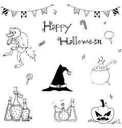 Happy halloween flat in doodle vector