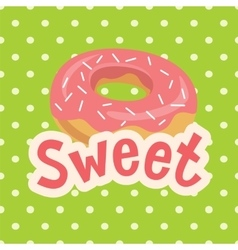 Sweet label with donut on polka-dot background vector