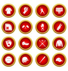 Baseball icon red circle set vector