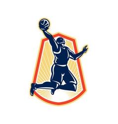 Basketball player dunk rebound ball retro vector