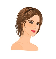 Beautiful young woman with short hair vector image vector image
