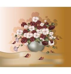 Bouquet of flowers in oil paints color vector image