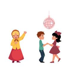 Cartoon kids dancing at disco party singing vector