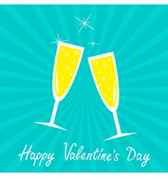 Champagne glasses happy valentines day vector
