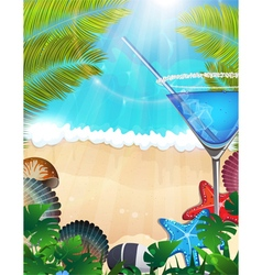 Cocktail with palm branches on tropical background vector image