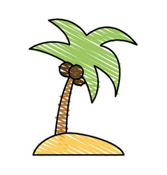 Color crayon stripe image island tropical palm vector