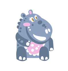 Cute cartoon hippo character sitting on the floor vector