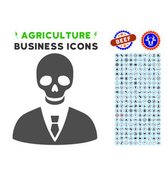 Deadly manager icon with agriculture set vector