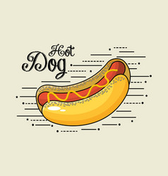 delicious hot dog fast food meal vector image