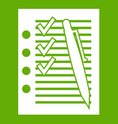 document with plan and pen icon green vector image vector image