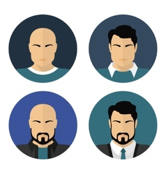 Flat male faces circle icons vector image vector image