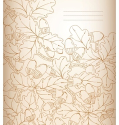 floral background retro oak leaves and acorns vector image