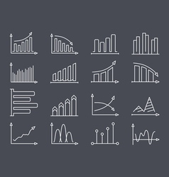 Graphs and charts line icons vector