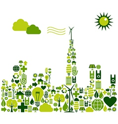 Green city environmental icons vector