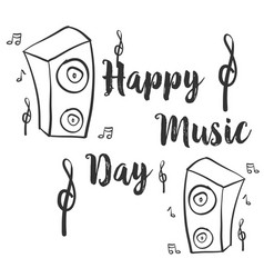 Hand draw card style music day vector