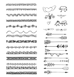 Hand drawn border set and design element vector image