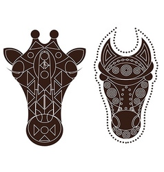 Horse giraffe head decorated vector