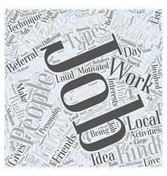 Jh knowing the best job for you word cloud concept vector