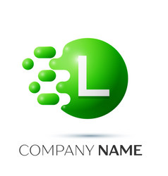 L letter splash logo green dots and circle bubble vector