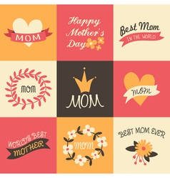 mothers day vintage design greeting cards set vector image