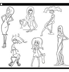 pretty women set cartoon vector image vector image