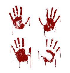 red bloody scary hands imprint set vector image