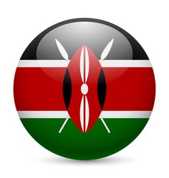 Round glossy icon of kenya vector