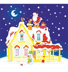 Santa with gifts on a housetop vector