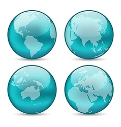 Set globes showing earth with continents vector image