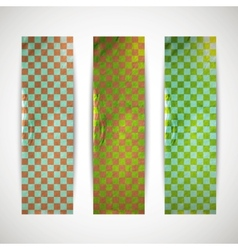 Set of checkered banners with cardboard texture vector