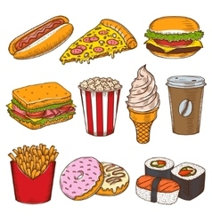 Set of vintage hand drawn fast food icons vector